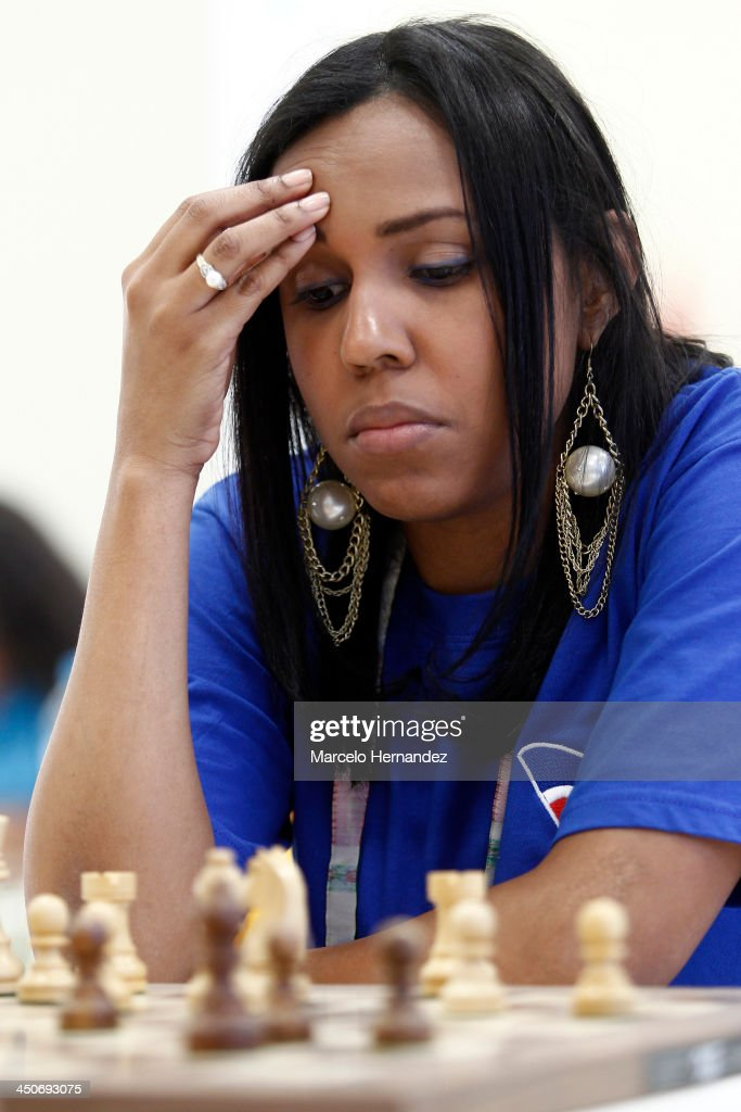 Omayra Aybar of Republica Dominicana competes during the opening day of the Chess competition as part of the XVII Bolivarian Games Trujillo 2013 at Colegio San Jose Library on November 19, 2013 in Lima, Peru.
