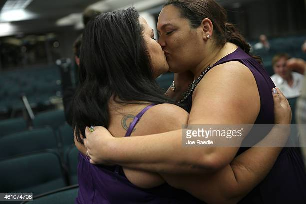 Omayra Somarriba and Beatriz Nieves kiss after getting married during a ceremony at the Broward County Courthouse on January 6 2015 in Fort...