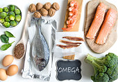 Food sources rich in omega including seafood, vegetables and seeds
