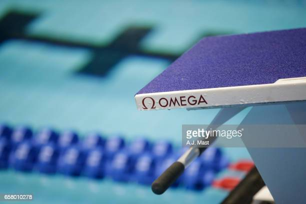 Omega logo during the Division I Men's Swimming Diving Championship held at the Indiana University Natatorium on March 25 2017 in Indianapolis Indiana