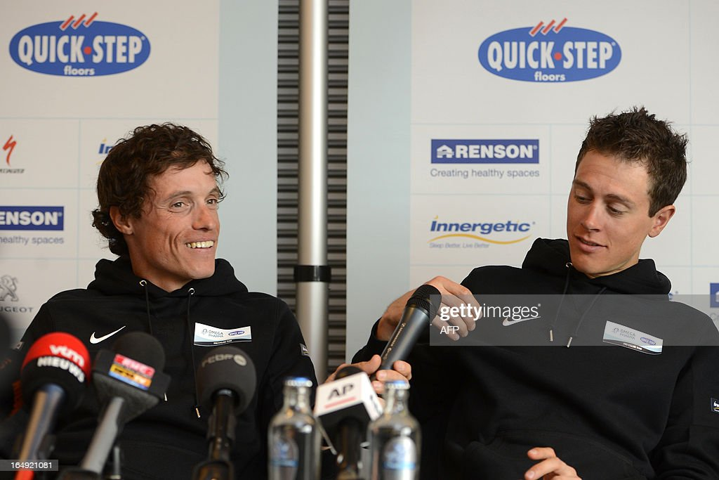 Omega Pharma - Quick Step cycling team (From L) French Sylvain Chavanel, and Dutch Niki Terpstra attend a press conference two days ahead of the Tour of Flanders' (Ronde van Vlaanderen - Tour des Flandres) cycling race, on March 29, 2013 in Nazareth.