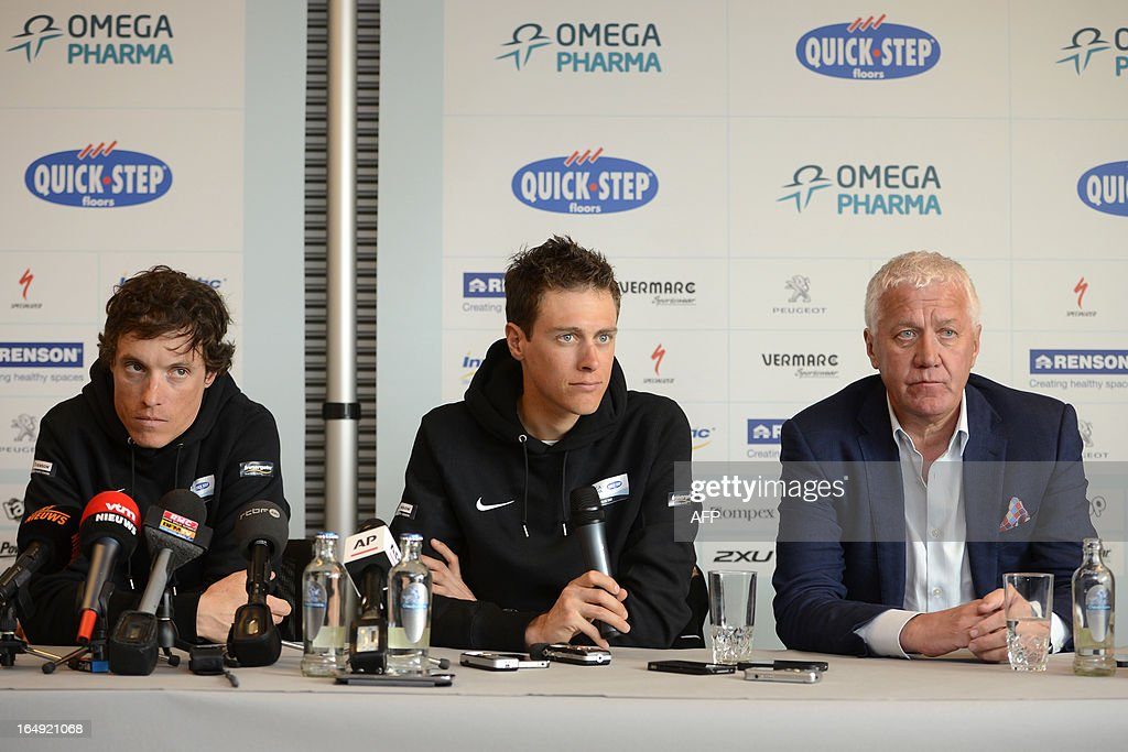 Omega Pharma - Quick Step cycling team (From L) French Sylvain Chavanel, Dutch Niki Terpstra and Belgian General manager Patrick Lefevere attend a press conference two days ahead of the Tour of Flanders' (Ronde van Vlaanderen - Tour des Flandres) cycling race, on March 29, 2013 in Nazareth.