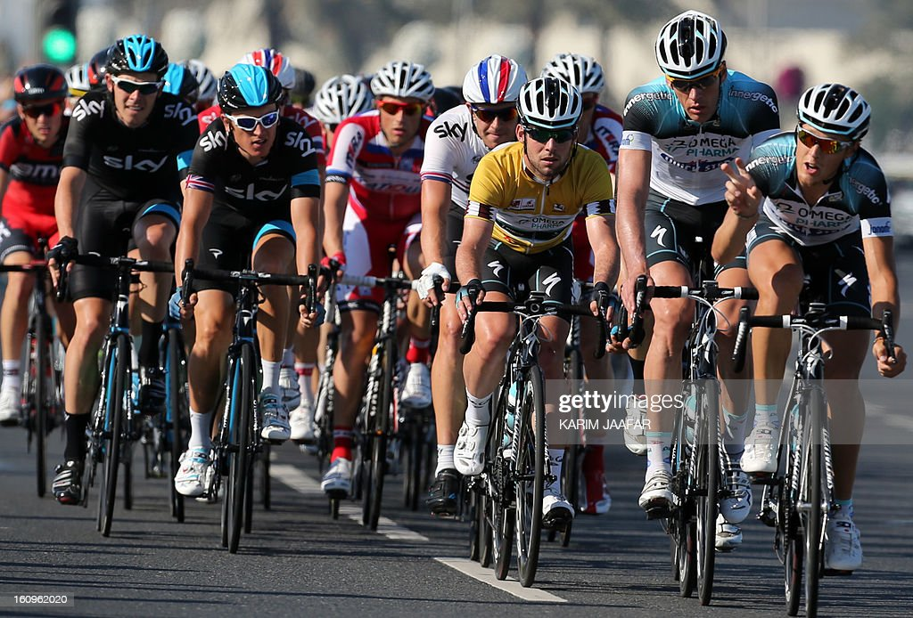 Omega Pharma-Quick Step team's leader Mark Cavendish (3R) competes in the last stage of the 2013 Tour of Qatar, from Cyline beach to the Doha Cornich, on February 8, 2013. Cavendish sealed overall victory on the Tour of Qatar after winning the sixth and final stage.