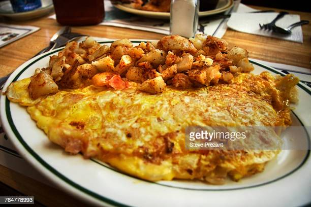 Omelet on plate with hash browns