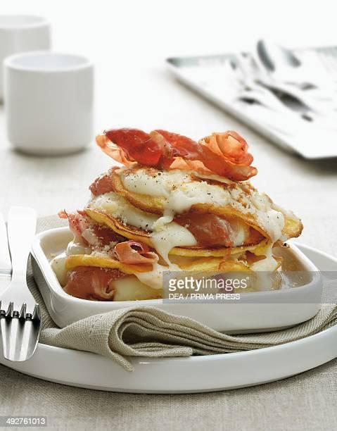 Omelette stack with ham and mozzarella