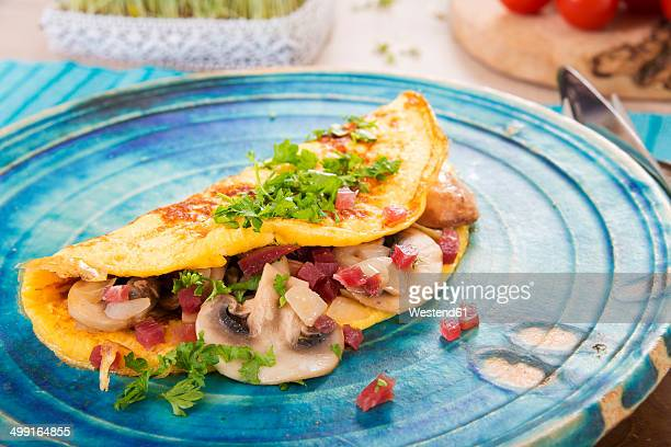 Omelette with champignon, onion and ham on plate