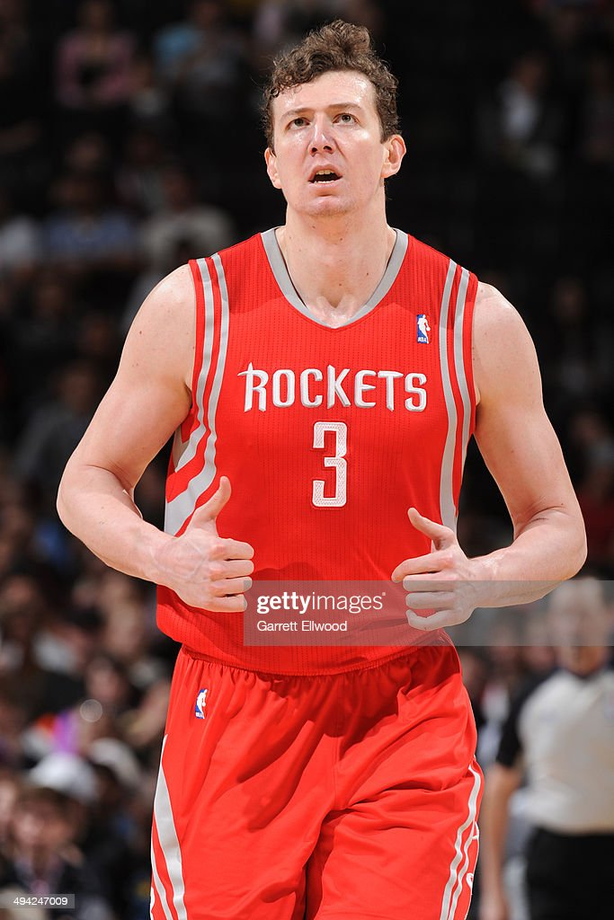 Omer Asik #3 of the Houston Rockets celebrates during the game against the Denver Nuggets on April 9, 2014 at the Pepsi Center in Denver, Colorado.