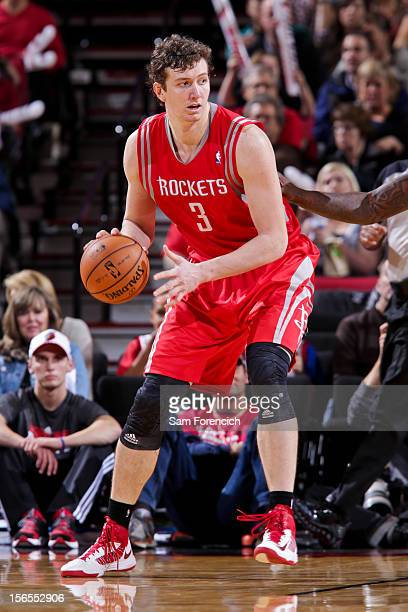 Omer Asik of the Houston Rockets controls the ball against the Portland Trail Blazers on November 16 2012 at the Rose Garden Arena in Portland Oregon...