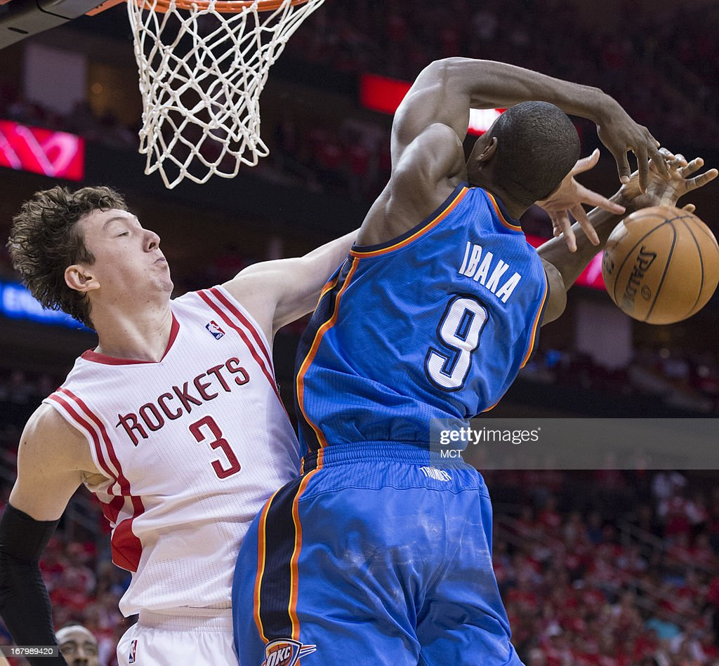 Omer Asik (3) of the Houston Rockets defends against Serge Ibaka (9) of the Oklahoma City Thunder in the second half of their Western Conference playoff game game on Friday, May 3, 2013, in Houston, Texas.