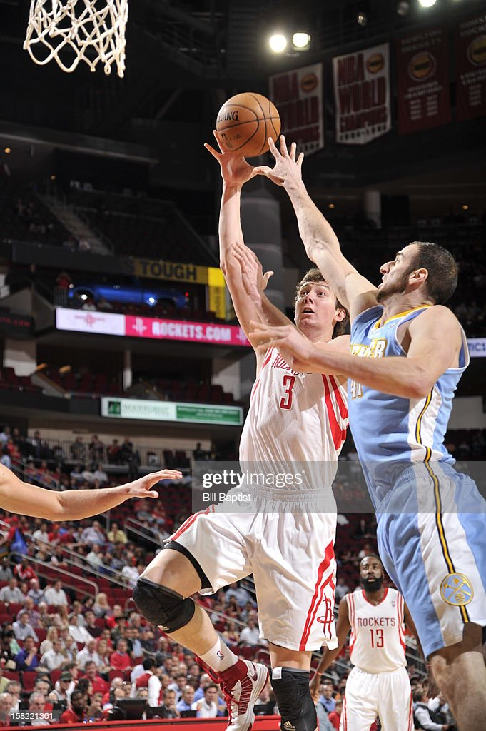 Omer Asik #3 of the Houston Rockets drives to the basket against the Denver Nuggets on November 7, 2012 at the Toyota Center in Houston, Texas.