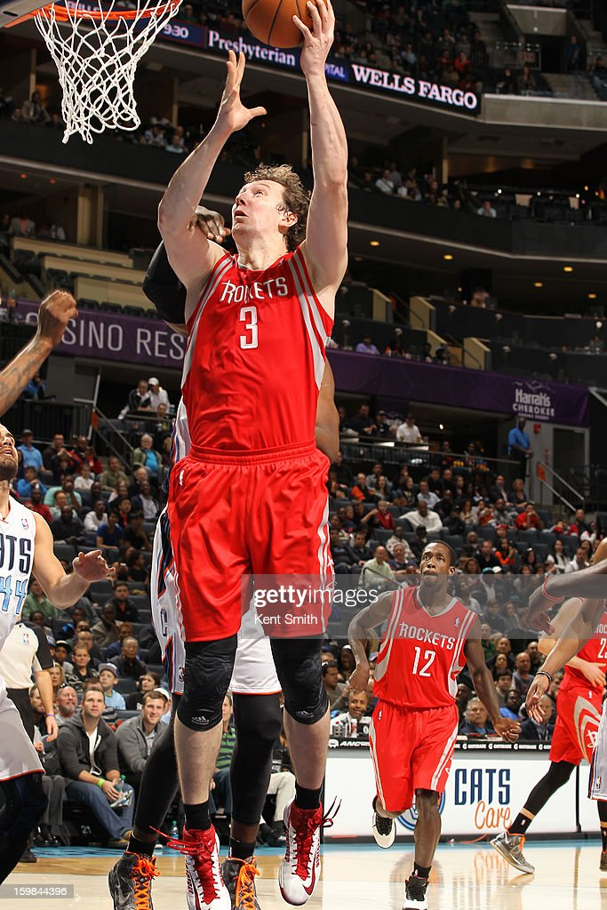 Omer Asik #3 of the Houston Rockets drives to the basket against the Charlotte Bobcats at the Time Warner Cable Arena on January 21, 2013 in Charlotte, North Carolina.