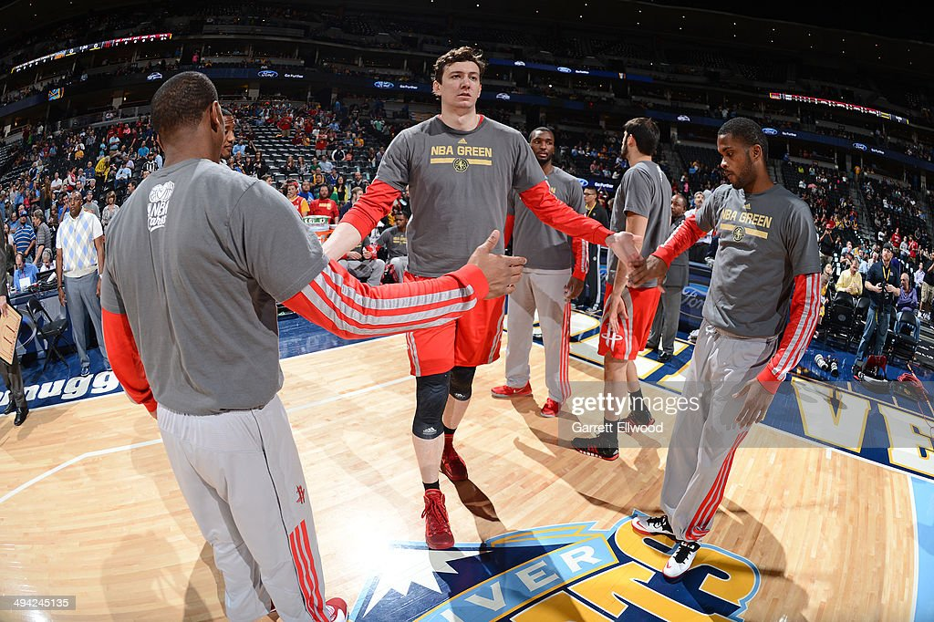 <a gi-track='captionPersonalityLinkClicked' href=/galleries/search?phrase=Omer+Asik&family=editorial&specificpeople=4946055 ng-click='$event.stopPropagation()'>Omer Asik</a> #3 of the Houston Rockets enters the court before the game against the Denver Nuggets on April 9, 2014 at the Pepsi Center in Denver, Colorado.