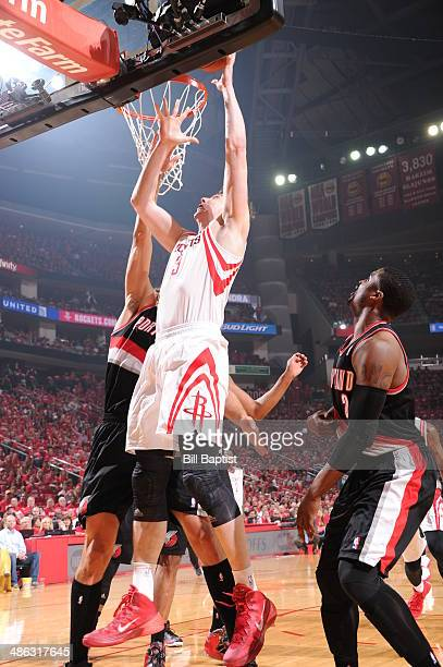Omer Asik of the Houston Rockets goes up for the lakers against the Portland Trail Blazers in Game Two of the Western Conference Quarterfinals during...