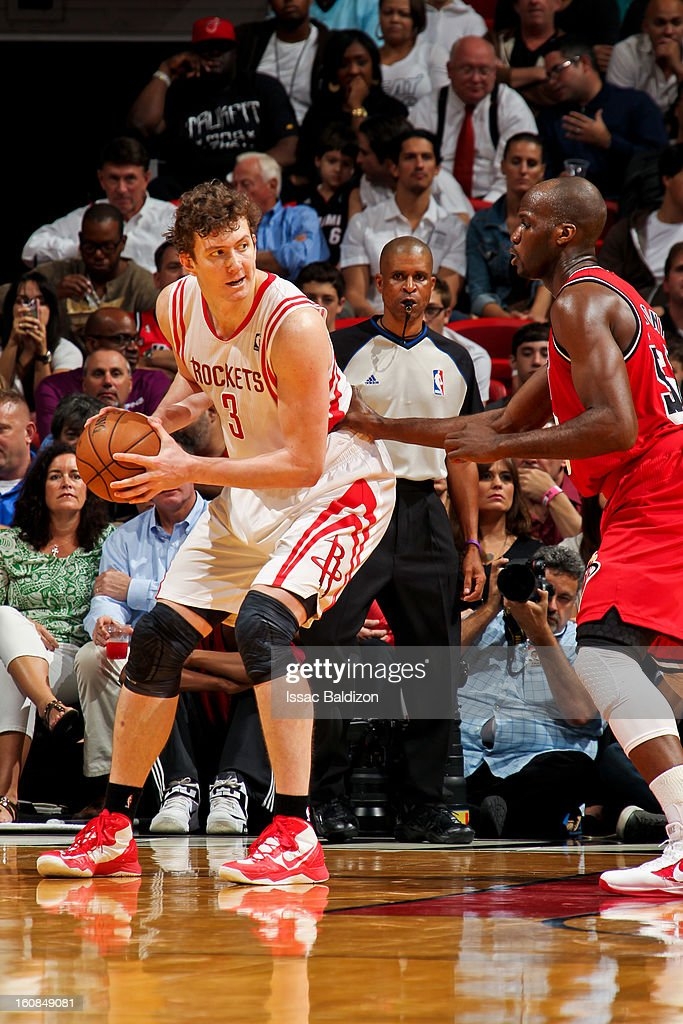 Omer Asik #3 of the Houston Rockets posts-up against Joel Anthony #50 of the Miami Heat on February 6, 2013 at American Airlines Arena in Miami, Florida.