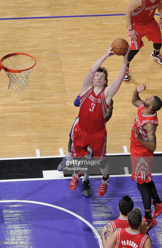 Omer Asik #3 of the Houston Rockets rebounds against the Sacramento Kings on February 10, 2013 at Sleep Train Arena in Sacramento, California.