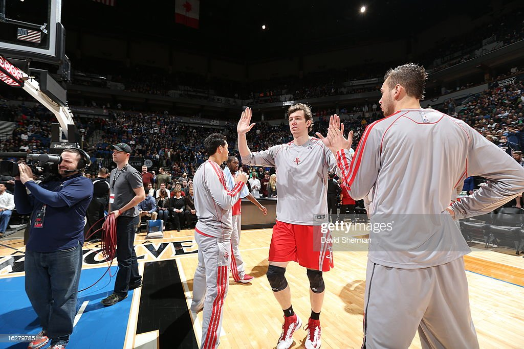 Omer Asik #3 of the Houston Rockets runs out before the game against the Minnesota Timberwolves on December 26, 2012 at Target Center in Minneapolis, Minnesota.