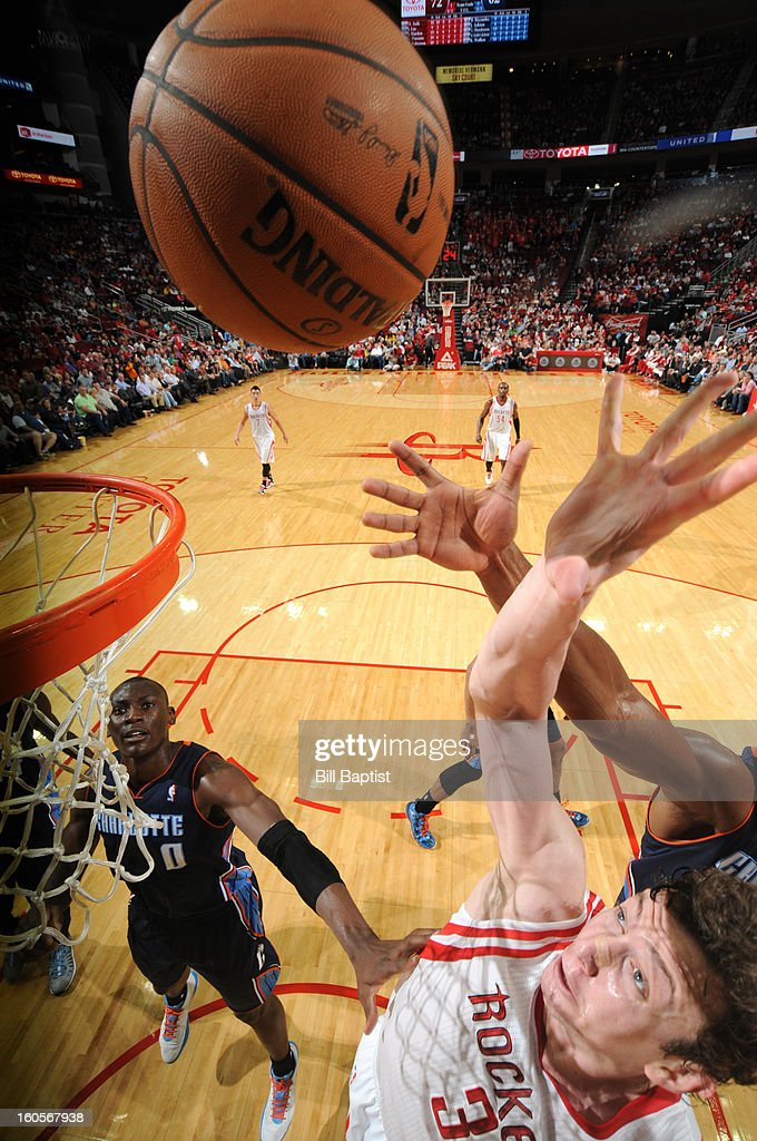 Omer Asik #3 of the Houston Rockets shoots against the Charlotte Bobcats on February 2, 2013 at the Toyota Center in Houston, Texas.
