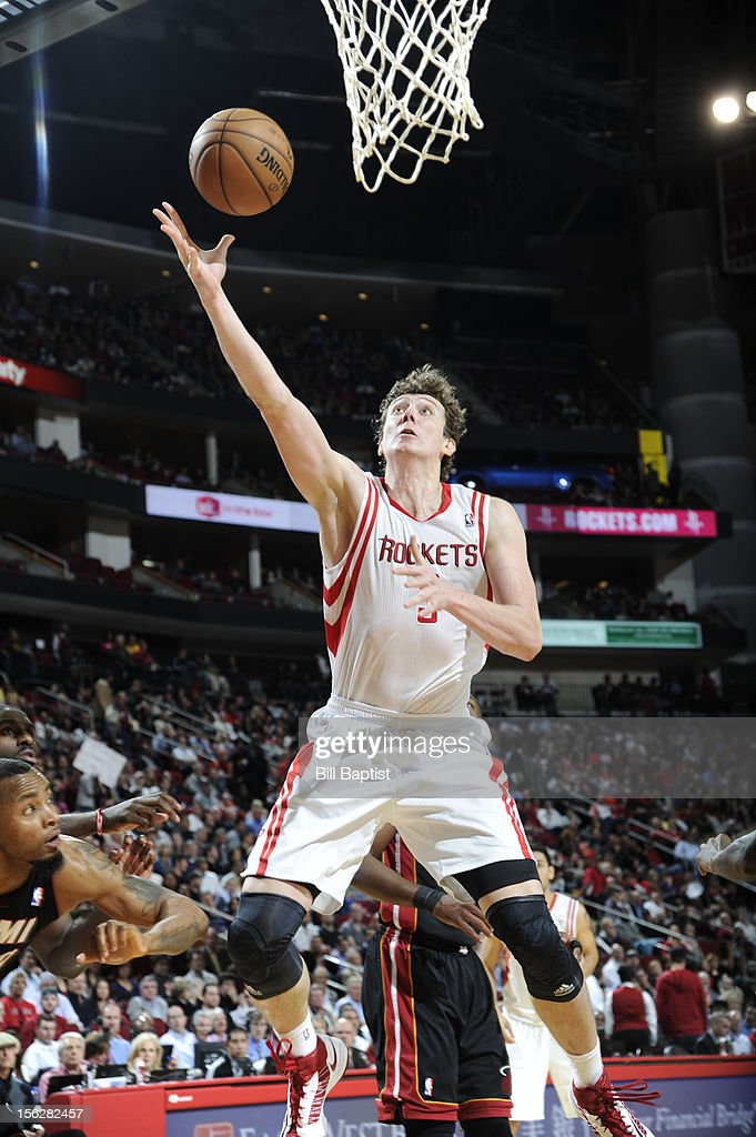Omer Asik #3 of the Houston Rockets shoots the ball against the Miami Heat on November 12, 2012 at the Toyota Center in Houston, Texas.