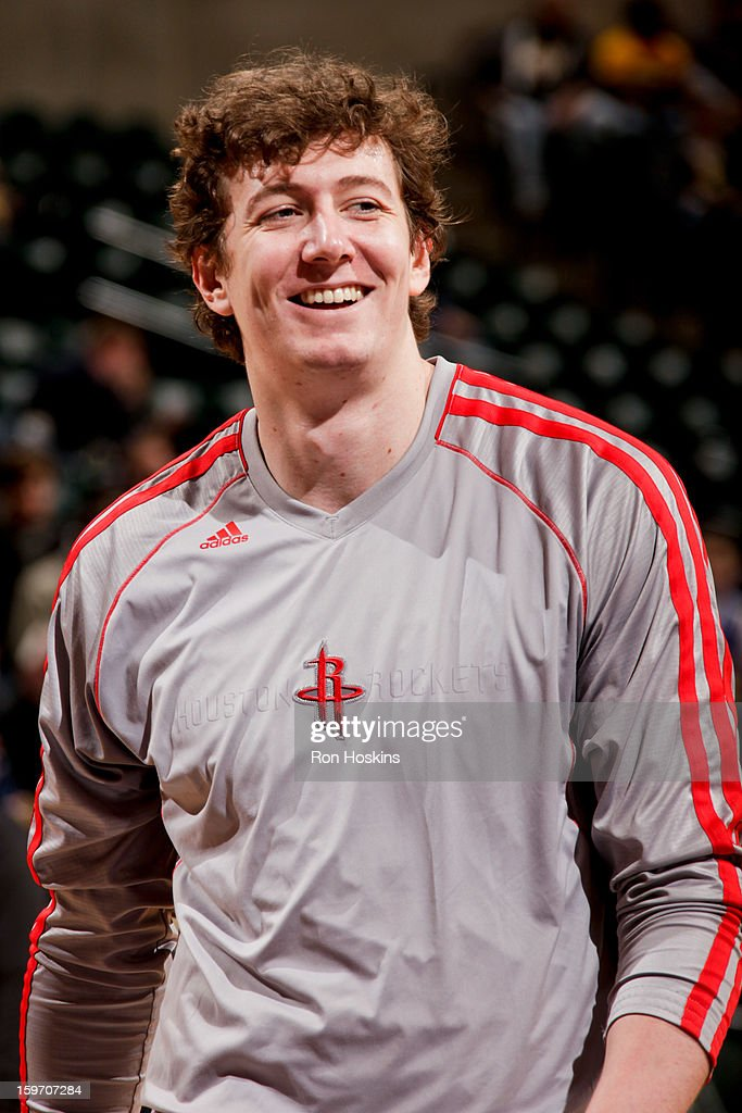 Omer Asik #3 of the Houston Rockets smiles before a game against the Indiana Pacers on January 18, 2013 at Bankers Life Fieldhouse in Indianapolis, Indiana.