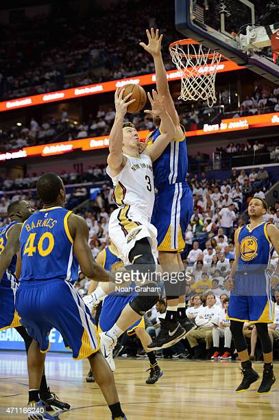 Omer Asik of the New Orleans Pelicans goes for the layup against the Golden State Warriors during Game Four of the Western Conference Quarterfinals...