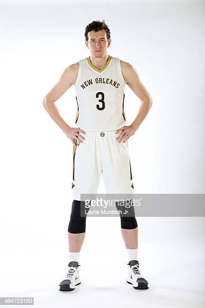 Omer Asik of the New Orleans Pelicans poses for a photo during NBA Media Day on October 14 2015 at the New Orleans Pelicans practice facility in...