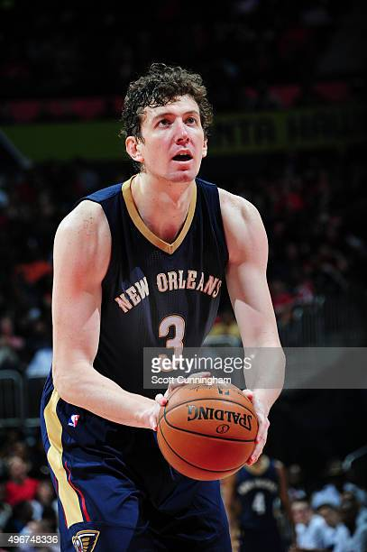 Omer Asik of the New Orleans Pelicans prepares to shoot against the Atlanta Hawks during the game on November 11 2015 at Philips Arena in Atlanta...