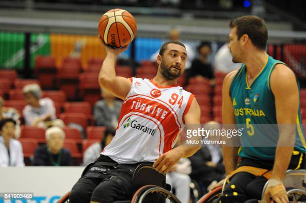 Omer Isik of Turkey in action during the Wheelchair Basketball World Challenge Cup match between Turkey and Australia at the Tokyo Metropolitan...