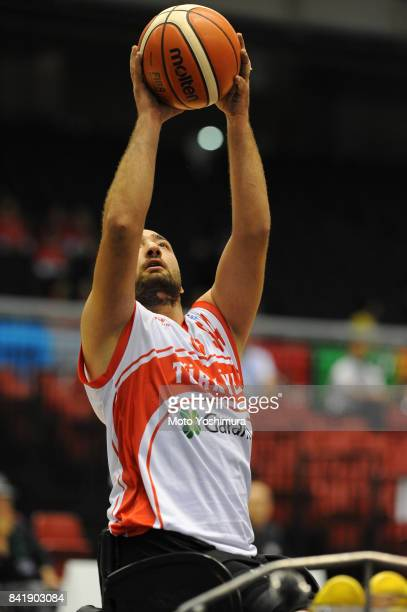Omer Isik of Turkey shoots during the Wheelchair Basketball World Challenge Cup match between Turkey and Australia at the Tokyo Metropolitan...