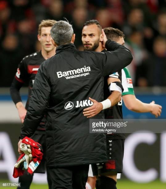 Omer Toprak and goalkeeper Ramazan Ozcan of Leverkusen react after the Bundesliga soccer match between Bayer Leverkusen and Werder Bremen at the...