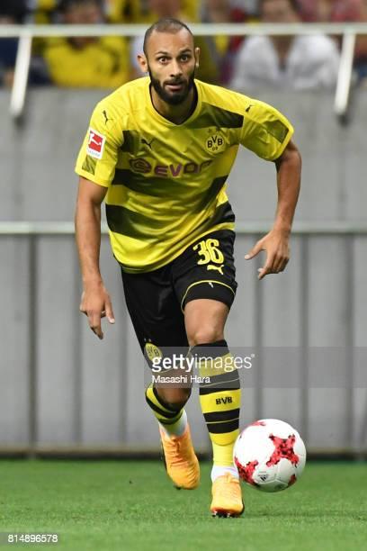 Omer Toprak of Borussia Dortmund in action during the preseason friendly match between Urawa Red Diamonds and Borussia Dortmund at Saitama Stadium on...