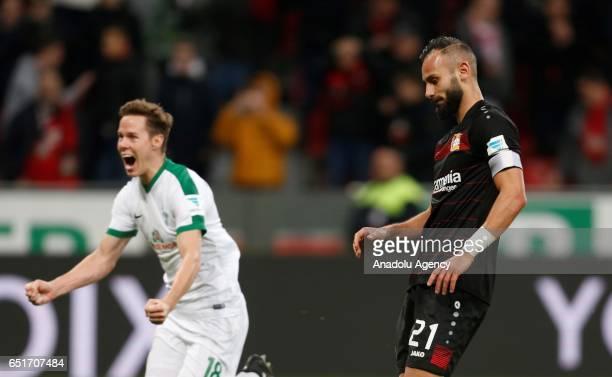 Omer Toprak of Leverkusen fails a penalty while Milos Veljkovic of Bremen celebrates during the Bundesliga soccer match between Bayer Leverkusen and...