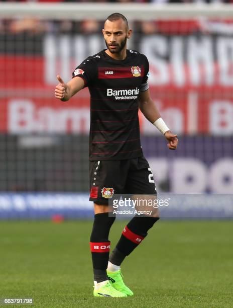 Omer Toprak of Leverkusen gives a thumb during the Bundesliga soccer match between Bayer Leverkusen and VfL Wolfsburg at the BayArena stadium in...