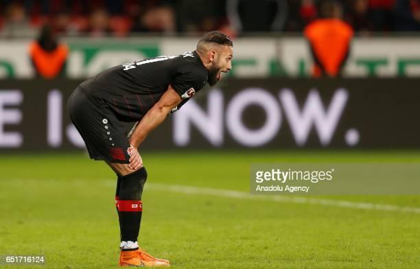 Omer Toprak of Leverkusen reacts after failing a penalty during the Bundesliga soccer match between Bayer Leverkusen and Werder Bremen at the...