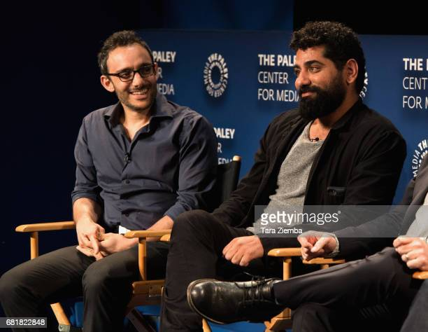 Omid Abtahi and Mousa Kraish speak onstage during the QA after the 'American Gods' advance screening In Partnership with GLAAD at The Paley Center...