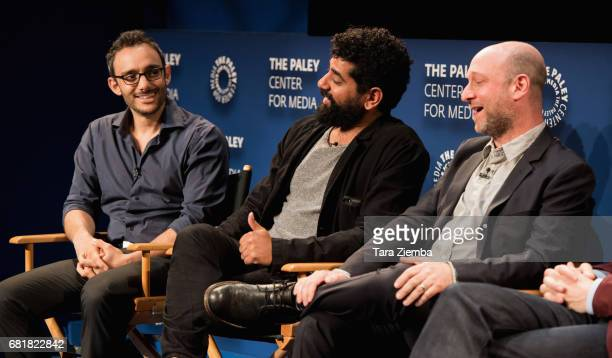 Omid Abtahi Mousa Kraish and Michael Green speak onstage during the QA after the 'American Gods' advance screening In Partnership with GLAAD at The...