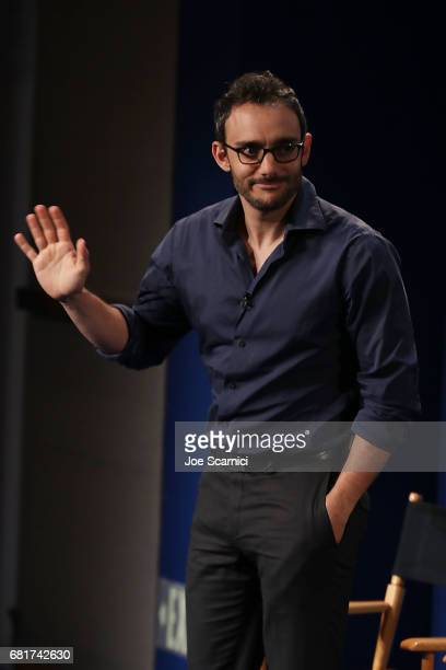 Omid Abtahi speaks onstage during the QA after the 'American Gods' advance screening In Partnership With GLAAD at The Paley Center for Media on May...