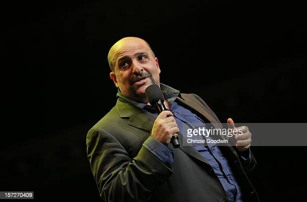 Omid Djalili performs on stage as part of the The Prince's Trust comedy gala We Are Most Amused at Royal Albert Hall on November 28 2012 in London...