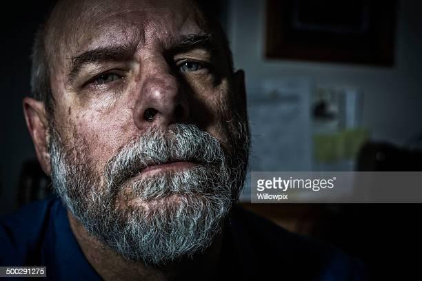 Ominous Man Close-Up Mug Shot