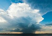 Ominous storm cloud over lake, Sneek, Friesland, the Netherlands