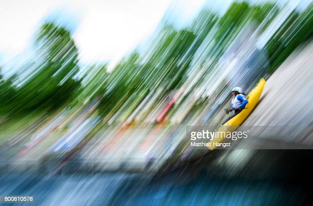 Omira Estacia Neta of Brazil jumps of the startramp during the Boater Cross Time Trials of the ICF Canoe Slalom World Cup on June 24 2017 in Augsburg...