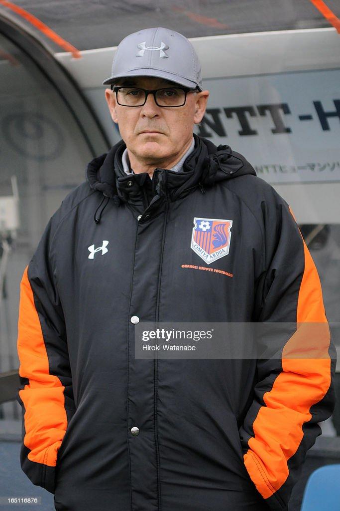 Omiya Ardija head coach Zdenko Verdenik looks on during the J.League match between Omiya Ardija and Kashiwa Reysol at Nack 5 Stadium Omiya on March 30, 2013 in Saitama, Japan.
