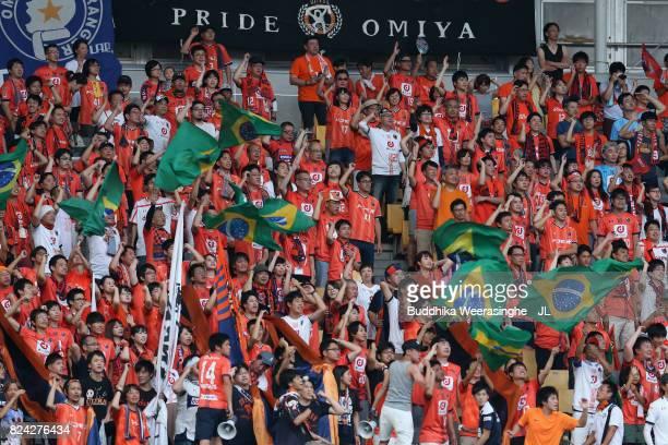 Omiya Ardija supporters cheer prior to the JLeague J1 match between Vissel Kobe and Omiya Ardija at Noevir Stadium Kobe on July 29 2017 in Kobe Hyogo...