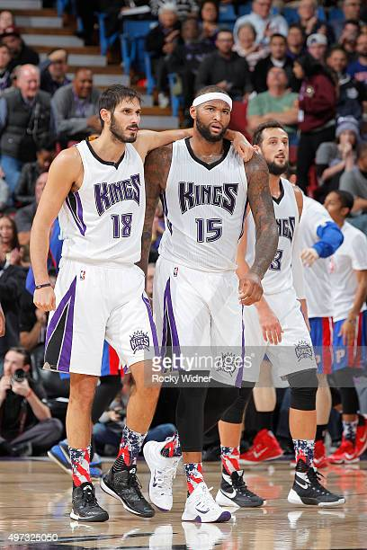 Omri Casspi and DeMarcus Cousins of the Sacramento Kings face off against the Detroit Pistons on November 11 2015 at Sleep Train Arena in Sacramento...