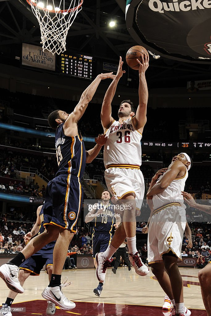 <a gi-track='captionPersonalityLinkClicked' href=/galleries/search?phrase=Omri+Casspi&family=editorial&specificpeople=2298404 ng-click='$event.stopPropagation()'>Omri Casspi</a> #36 of the Cleveland Cavaliers drives to the basket against the Indiana Pacers at The Quicken Loans Arena on March 18, 2013 in Cleveland, Ohio.