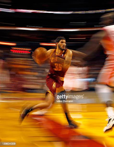 Omri Casspi of the Cleveland Cavaliers drives to the rim during a game against the Miami Heat at American Airlines Arena on February 7 2012 in Miami...