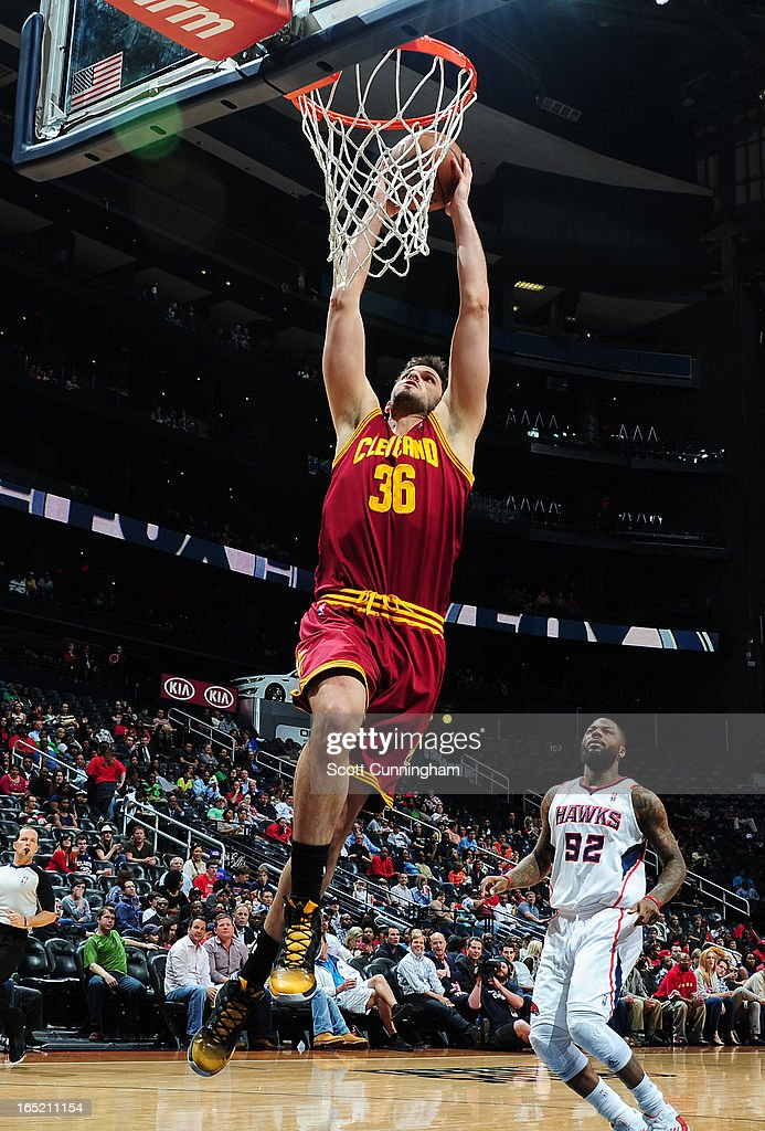 <a gi-track='captionPersonalityLinkClicked' href=/galleries/search?phrase=Omri+Casspi&family=editorial&specificpeople=2298404 ng-click='$event.stopPropagation()'>Omri Casspi</a> #36 of the Cleveland Cavaliers dunks against the Atlanta Hawks on April 1, 2013 at Philips Arena in Atlanta, Georgia.