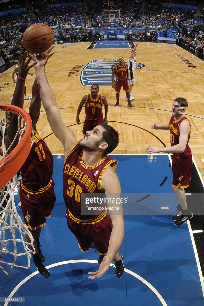 Omri Casspi #36 of the Cleveland Cavaliers fights for the ball against the Orlando Magic on November 23, 2012 at Amway Center in Orlando, Florida.