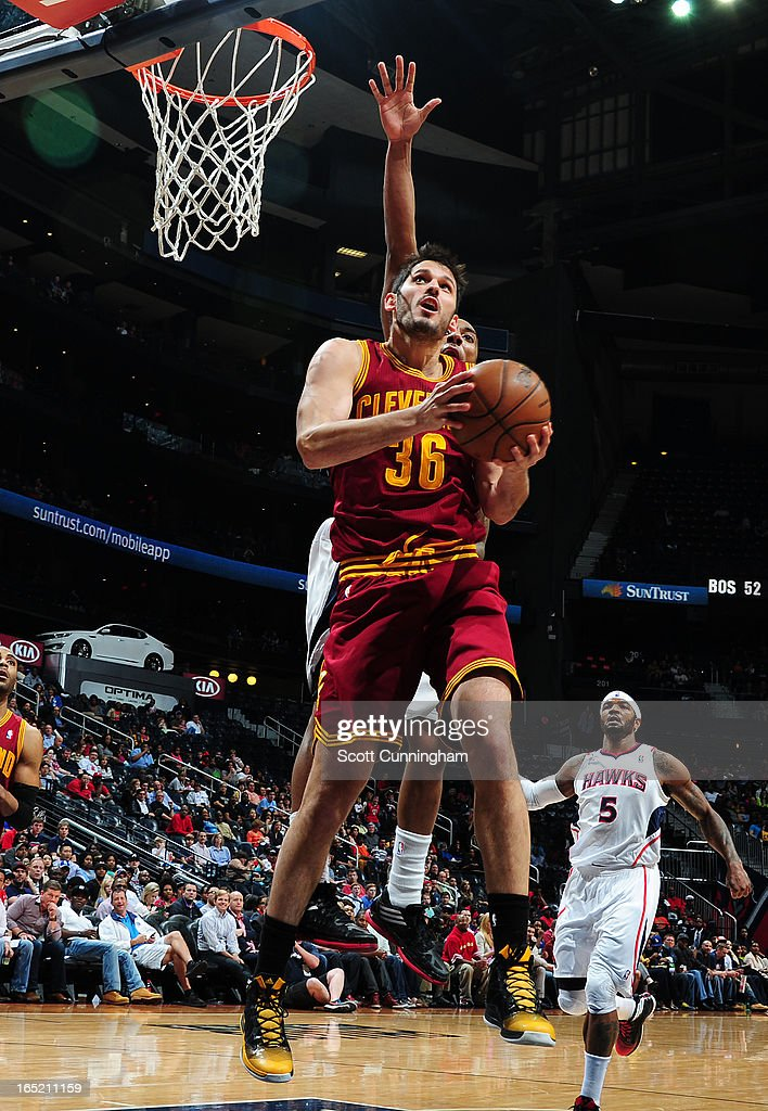 <a gi-track='captionPersonalityLinkClicked' href=/galleries/search?phrase=Omri+Casspi&family=editorial&specificpeople=2298404 ng-click='$event.stopPropagation()'>Omri Casspi</a> #36 of the Cleveland Cavaliers goes to the basket against the Atlanta Hawks on April 1, 2013 at Philips Arena in Atlanta, Georgia.