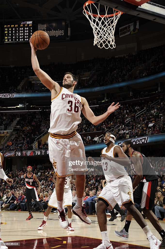<a gi-track='captionPersonalityLinkClicked' href=/galleries/search?phrase=Omri+Casspi&family=editorial&specificpeople=2298404 ng-click='$event.stopPropagation()'>Omri Casspi</a> #36 of the Cleveland Cavaliers grabs a rebound against the Portland Trail Blazers at The Quicken Loans Arena on December 1, 2012 in Cleveland, Ohio.