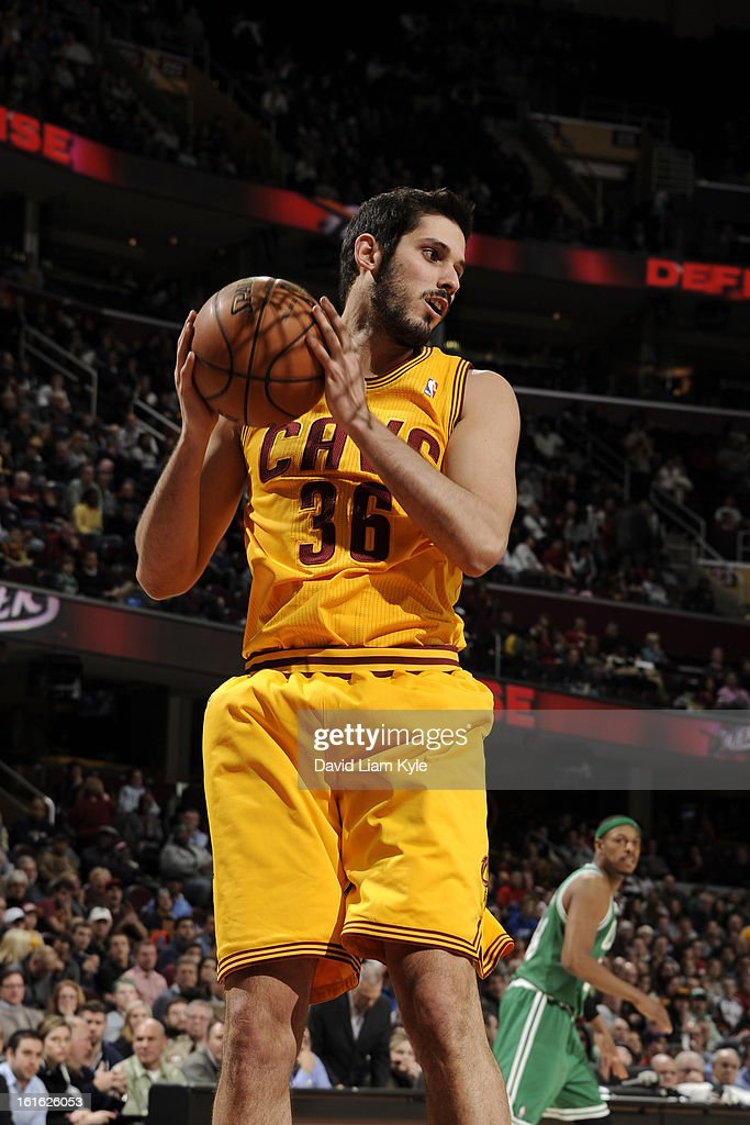 Omri Casspi #36 of the Cleveland Cavaliers grabs a rebound against the Boston Celtics at The Quicken Loans Arena on January 22, 2013 in Cleveland, Ohio.